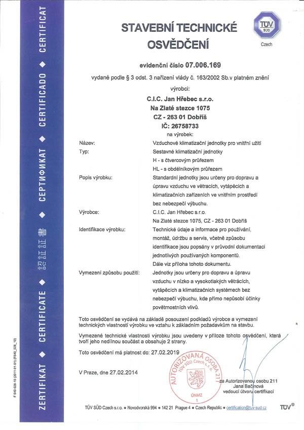 Certificate Tüv-Süd for CIC JAN HŘEBEC - Укртехсистемс