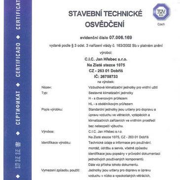 Сертификат Tüv-Süd для CIC JAN HŘEBEC